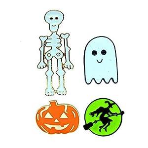 Amosfun 4 Stücke Halloween Brosche Skelett Geist Hexe Kürbis Anstecknadel Emaille Brosche Pins Schmuck Kostüm Zubehör für Kinder Erwachsene Halloween Party Dekoration