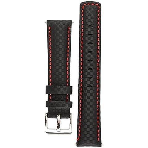 Signature Carbon correa de reloj. Banda de reepmlazo para reloj. Cuero genuino. Hebilla de acero. (Negro con rojo, 24 mm -