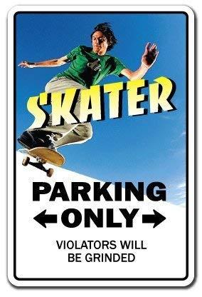 WSMsign Skater Schild Parken Skateboard Rollen Trucks Deck Geschenk Skaten Skateboarding Warnschilder für Gefahrenhaus, Hausdeko, Yard Caution Notice Schilder Lustige Metallschilder 8x12 -