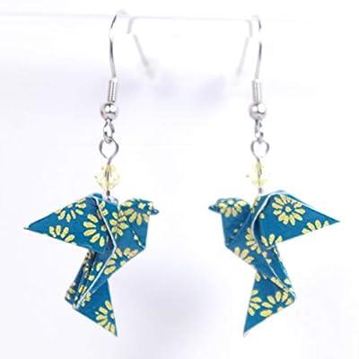 Boucles d'oreilles colombes origami verticales bleu canard avec des petites fleurs dorées - crochets inox