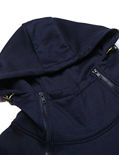 Burlady Kapuzenpullover Herren Zipper Hoodie Einfarbig Jacke für Winter Dunkel Blau