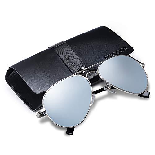 Vegoos Lunette de soleil Homme Polarisées Aviateur Polarisées Lunettes de soleil Hommes Unisexe UV400 Protection Argenté