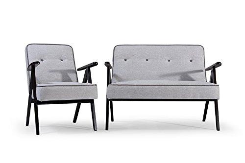 Sofaset mit Holz Sofa mit Sessel Couch Sofagarnitur Polstermöbel Polstersofa 2er 2-Sitzer Garten Terrasse Balkon Retro (Hellgrau) -
