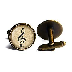 Music Note Musik Hinweis Musiknote Antike Bronze Manschettenknöpfe