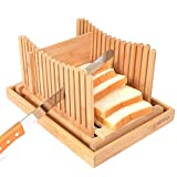 Glitz Star Nature Bamboo Bread Slicer Foldable with Crumb Catcher Tray Thickness Adjustable