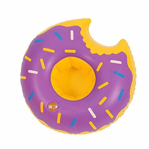 ommer Aufblasbare Getränkehalter PVC Aufblasbare Schwimmende Donut Cup Holder Pool Wasser Spielzeug (Lila) (Aufblasbare Outdoor-halloween-dekoration)