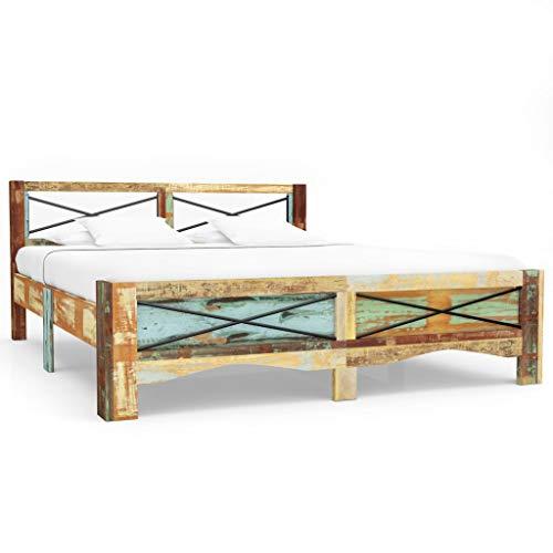 Antike Bett Mit Matratze (Festnight- Holzbett 180 x 200 cm | Massivholz Bettgestell mit Kopfteil | Holz Futonbett Vintage Doppelbett Schlafzimmer | Recyceltes Massivholz 180 x 200 cm)
