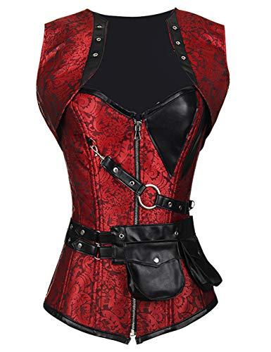 FeelinGirl Damen Korsett mit Stahlstäbchen - Brokatmuster - Retro/Gothic/Steampunk-Stahl ohne Knochen, Rot mit 24 Stäbchen, M(EU - Gold Und Schwarz Piratenkostüm