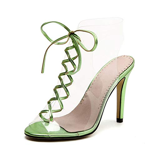 TRFLH& Spring Summer Fashion Thin High Heels Sexy Ankle Strap Sandals Women Transparent PVC Lace-Up Shoes Gladiator Women Shoes Green 9 Jessica Simpson Nordstrom