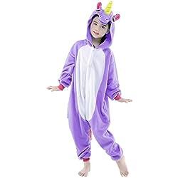 Pijama Unicornio Niña Niño Mono Franela Kigurumi Animales Entero Unisex Sleepsuit Romper Homewear Onesie Cosplay Traje de Disfraz para Festival Carnaval Halloween Navidad Regalos – Landove