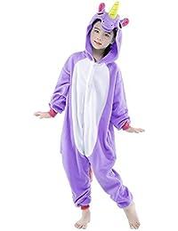 Pijama Unicornio Niña Niño Mono Franela Kigurumi Animales Entero Unisex Sleepsuit Romper Homewear Onesie Cosplay Traje
