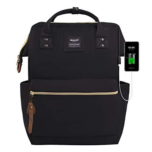 Zaino Grande Aperto Laptop Backpack 15.6' Uomo Donna Antifurto Daypacks Zaino impermeabile per Scuola/Business/Viaggio/Università (Nero USB)