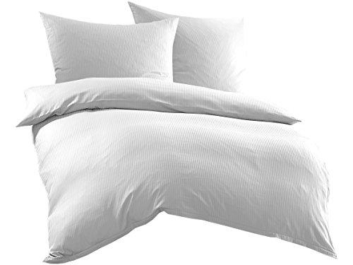 Bettwaesche-mit-Stil Mako-Satin Damast Streifen Bettwäsche Linea 4mm 100% Baumwolle gestreift (200cm x 200cm + 2X 80cm x 80cm, Weiß) - Damast-baumwolle-abdeckung