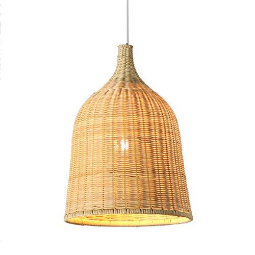 YLCJ Vintage handgemachte Bambus Rattan Runde Korb Kronleuchter mit E27 Birne chinesischen Kronleuchter Restaurant Schlafzimmer Lampe Forschung Licht Cafe Innenbeleuchtung (Größe: AC 220V) -