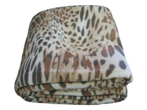 Dada Betten bl70742 Leopard/Cheetah Polar Fleece Decke, braun, Polyester-Mischgewebe, Dark, Light Brown, Tan, White, Volle Größe Brown Leopard Fleece