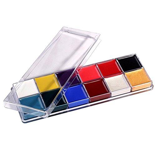 Face Paint Set, 12Vibrant Color Körper Sicher Professionelles Palette Malerei Kit Pack für Kinder Fancy Dress Party Make Up Art & ideal Weihnachten (Malen Palette Party Kit Gesicht)