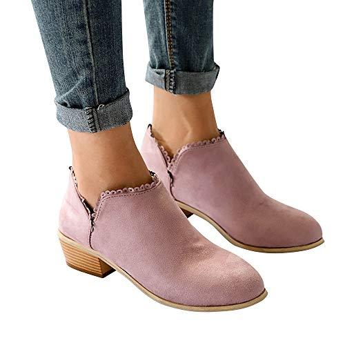 TianWlio Boots Stiefel Schuhe Stiefeletten Frauen Herbst Winter Mode Stiefel Runde Form Stiefel Klassische Stiefeletten Freizeitschuhe Weihnachten Rosa 39