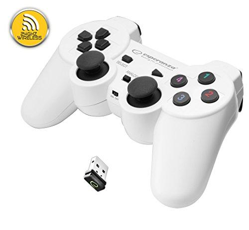 Esperanza GLADIATOR kabelloser Controller für PS3 (Playstation 3) Konsole, PC (Computer, Laptop), wireless mit USB Schwarz/Weiß