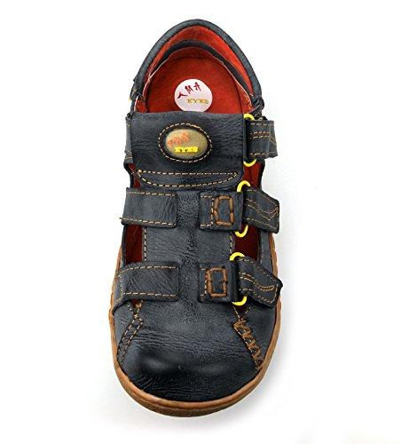 TMA Leder Damen Sommer Schuhe Sandalen 1343 Schwarz/Grau