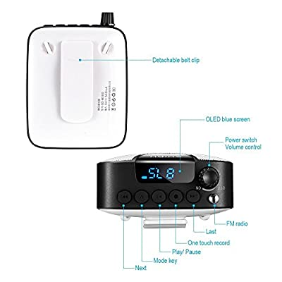 Wireless Portable Voice Amplifier, SHIDU Rechargeable Mini PA System with Wireless FM Headset Microphone, Recording Function, Support U Disk/TF for Guide, Teaching, Coaching, Presentations