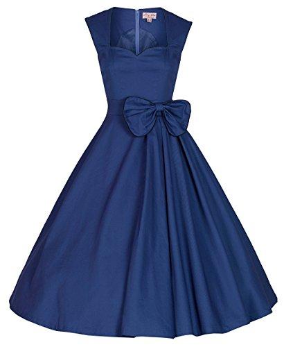 Dabag - Hepburn Style Rétro unicolore ou imprimé sans manches collet carré Robe de soirée Rockabilly grande Swing robe (L, Noir) Bleu