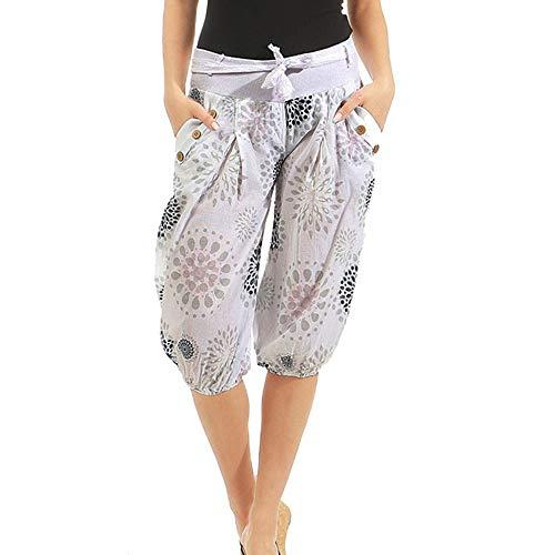 Dorical Damen Hose, Beiläufig Mode Gürtel Nicht Positioniert Punkt Drucken Tasche Knie Länge Kurze Hose für Frauen Große Förderung(EU 46/CN ()