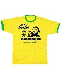Fidel Castro el comandante vive cuba t-shirt gelb/grün KUBA ringer