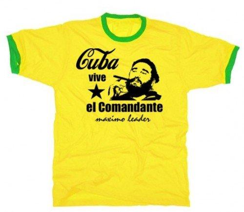 Coole Fun T-Shirts Fidel Castro  el comandante vive cuba tshirt ringer KUBA, gelb/grün, Grösse: M (Ringer Große)