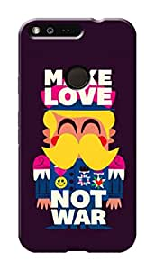 Google Pixel Black Hard Printed Case Cover by Hachi - Make Love Not War Design