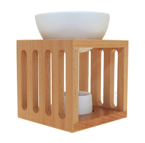 Sensoli Cube Oil Burner - Solid Wood with Large Ceramic Bowl - to Diffuse Essential Oils and Wax Melts