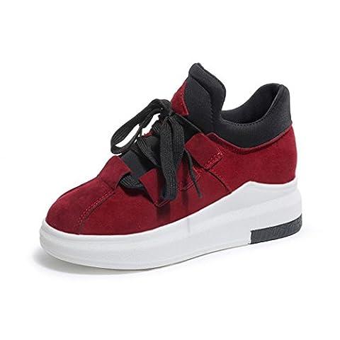 Femme Mode Sneaker Légères Tissu Coton Chaussures, QinMM Souple Tout-match Sport Sauvage Plate-forme Respirable Printemps Running Basket Plat (EU 34, Rouge)