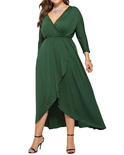 AUDATE Damen 3/4 Fledermaus Ärmel Maxi Kleid Sommer Große Größen Kleid Lang Dunkelgrün DE 46