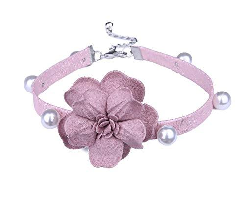 XZZZBXL Damen Halskette Perle Gürtel Große Simulation Blume Choker Halskette Frauen Halsketten Wildleder Band Halskette Schmuck Bijoux -