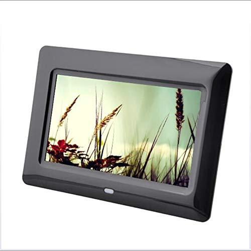 ES Digitaler Bilderrahmen mit 17,8 cm (7 Zoll), Auflösung 800 x 480, elektronischer Bilderrahmen mit eingebautem Lithium-Akku, mit Fernbedienung, Musik-Unterstützung, Video, Bildwiedergabe Schwarz