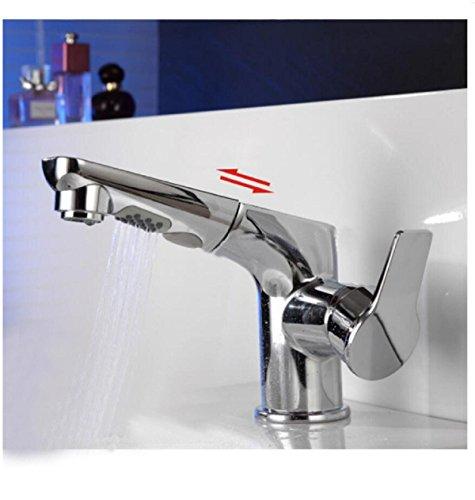 AMZH Multifunktions-Hähne voll Kupfer-Spray-Pull-Typ Wasserhahn schwenkbar einziehbare Waschbecken Waschbecken Wasser Wasserhahn