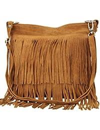 9f37aabffa566 AMBRA Moda Damen Handtasche Ledertasche Umhängetasche Fransentasche  Schultertasche Damentasche Wildleder 32 cm x 29 cm x 2…