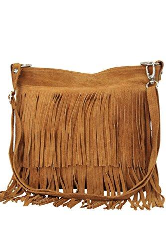 AMBRA Moda Damen Handtasche Ledertasche Umhängetasche Fransentasche Schultertasche Damentasche Wildleder 32 cm x 29 cm x 2 cm WL809 (Cognac) -