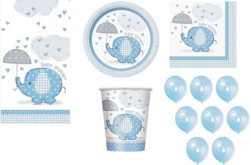 Umbrellaphants BLUE FOR BOY BABY SHOWER PARTY TABLEWARE PACK UMBRELLAPHANTS DESIGN NAPKINS PLATES CUPS TABLECOVER BALLOONS 57 ITEMS