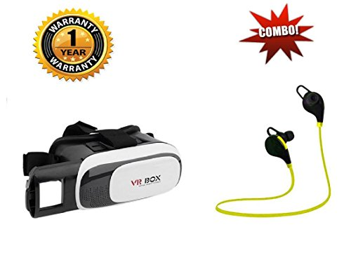 MOBOSTER SAMSUNG GALAXY NOTE 8 Compatible Certified Vr Box 2.0 Virtual Reality Glasses, with Controller For 3D Vr Glasses Virtual Reality Headset With QY8 Jogger Bluetooth 4.1 Wireless Headphones (One Year Warranty)