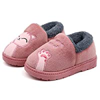 KVbabby Boys Girls Soft Plush Cute Cat Winter Slippers Warm Kids House Shoes Anti-Slip Slip On Cotton Outdoor Bedroom Slippers Womens Mens Pink