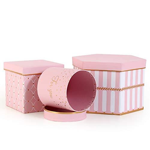 Veesun scatole regalo con coperchio 3pz, confezione rotonde/quadrate/esagonali con cartone rivestito, floreale scatoline per natale compleanno matrimonio laurea san valentino, rosa