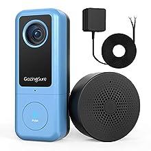 GazingSure Videocitofono, 2K QUAD HD, videocitofono WiFi con campanello, zona di rilevamento intelligente, funziona con Alexa, archiviazione su cloud/scheda SD