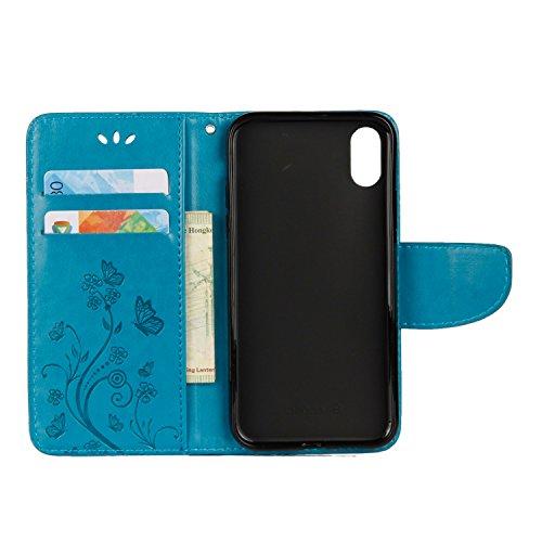 Apple iPhone X hülle, Voguecase Kunstleder Tasche PU Schutzhülle Tasche Leder Brieftasche Hülle Case Cover (Groß Schmetterling/Blau) + Gratis Universal Eingabestift Schmetterling liebt Blumen V/Blau