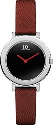 Danish Design Women's Quartz Watch with Black Dial Analogue Display and Red Leather Strap DZ120399