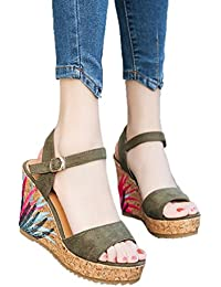 Sandalias para Mujer, RETUROM Bohemian Women Sandals Ankle Strap Straw Platform Wedges Shoes High Heels Sandal