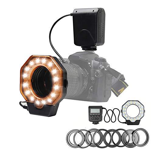 QYRL Makro LED Ring Blitz Licht Blitzgerät Für Canon 6D 7D Für Nikon D750 Mit Hotshoe / 8 Adapterring Für DSLR-Kamera