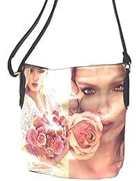 DIETZ Shopper mit Rosenmotiv Damentasche Handtasche schwarz 37x35x13cm