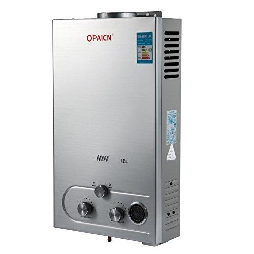 Buoqua scaldabagno a gas liquefatto scaldabagno a gas 12l lpg con digitale lcd scaldabagno automatico e rapidamente (lpg)