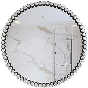 WJSXJJ Spiegel Moderne Nordic Metallwandspiegel for Badezimmer Wohnzimmer | Einzigartige Kunstdrucke Make-up Rasierspiegel, Durchmesser (Color : Gold, Size : 40cm)