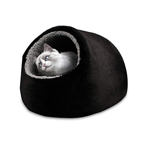VERTAST Katze kleine Hund gemütliche Bett Haustiere Iglu Bett kuschelhöhle für Katzen, Kissen waschbar (Schwarz)